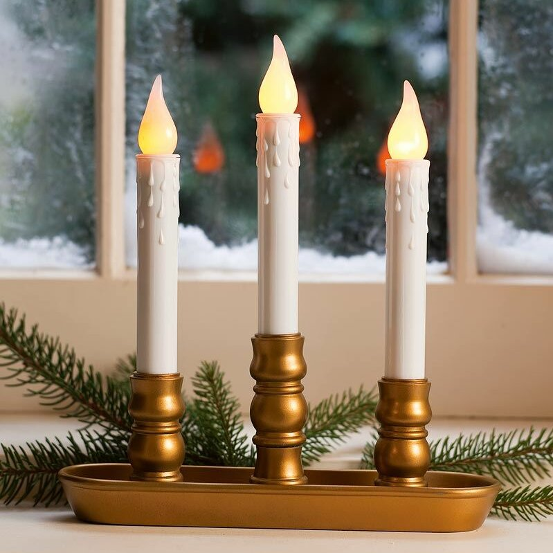 Battery Operated Triple Window Led Candle