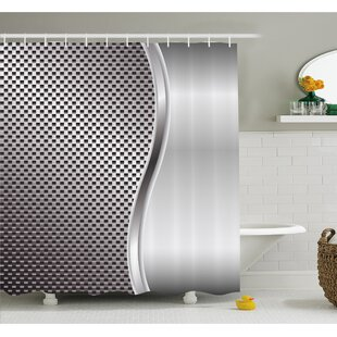 Metal Background With Square Shaped Grid Speaker Featured Industrial Iron Design Shower Curtain Set