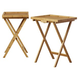 Hussey Bamboo Snack Tv Tray Table Set Of 2