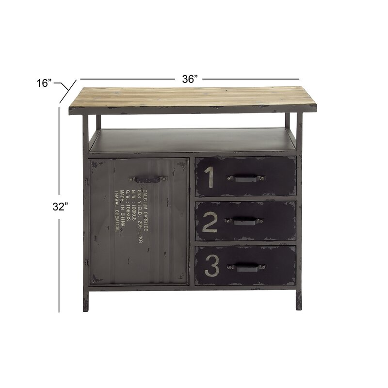 Hartland 1 Door 3 Drawer Metal And Wood Utility Accent Cabinet