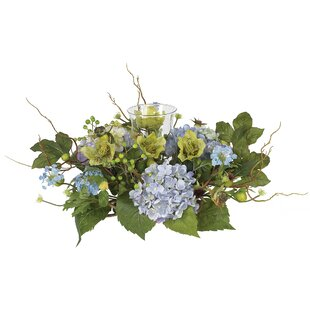 Flower centerpieces youll love wayfair hydrangea candleholder in blue mightylinksfo Images
