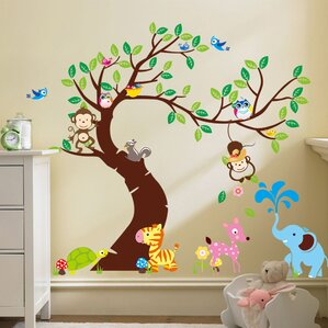 Curved Tree With Forest Friends And Monkeys Wall Decal Part 17