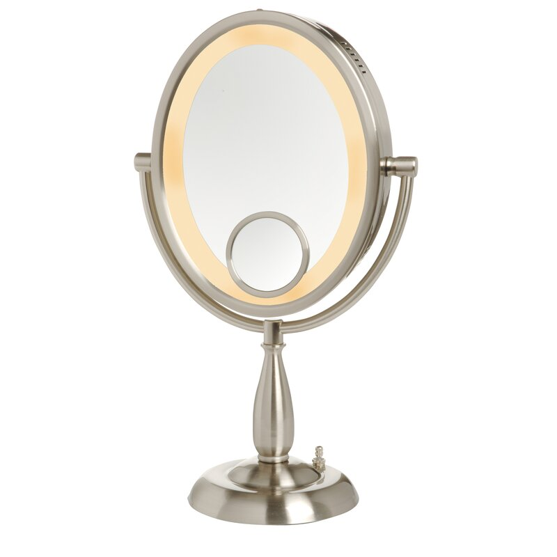 table top mirror. oval lighted table top mirror p
