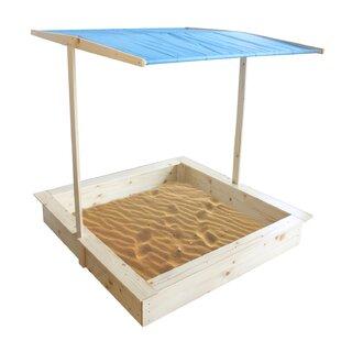 Wood 3.75u0027 Square Sandbox With Cover