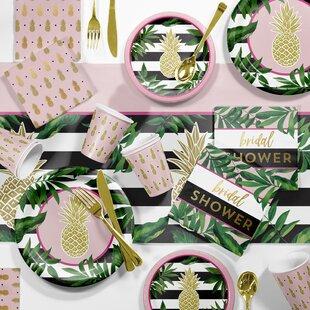 large golden pineapple paperplastic dinnerdessert bridal shower party kit