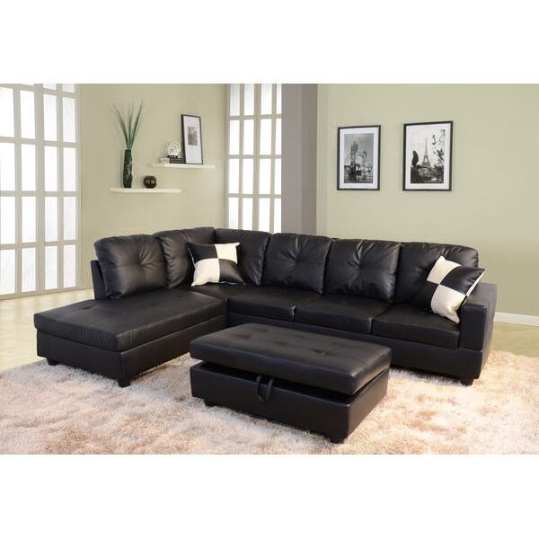 Black Sectional Couches andover mills russ sectional & reviews | wayfair