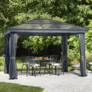 all season 10 ft w x 14 ft d metal permanent gazebo