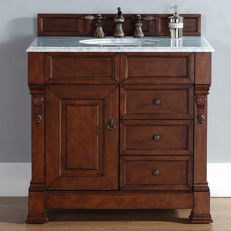 "Bedrock 36"" Single Warm Cherry Bathroom Vanity Set with Drawers"