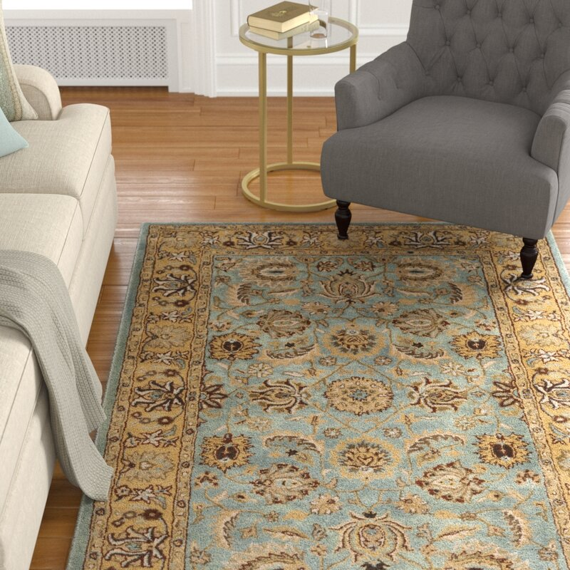 Darby Home Co Cardwell Handmade Wool Blue Beige Area Rug Reviews