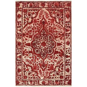 Sela Vintage Persian Hand Woven Wool Red/Cream Border Area Rug