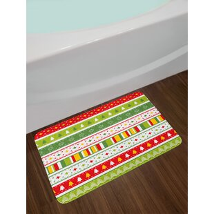 set lime green yellow red christmas bath rug