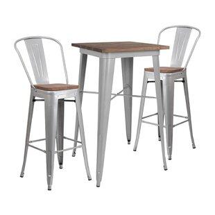 Mulhern Square 3 Piece Pub Table Set