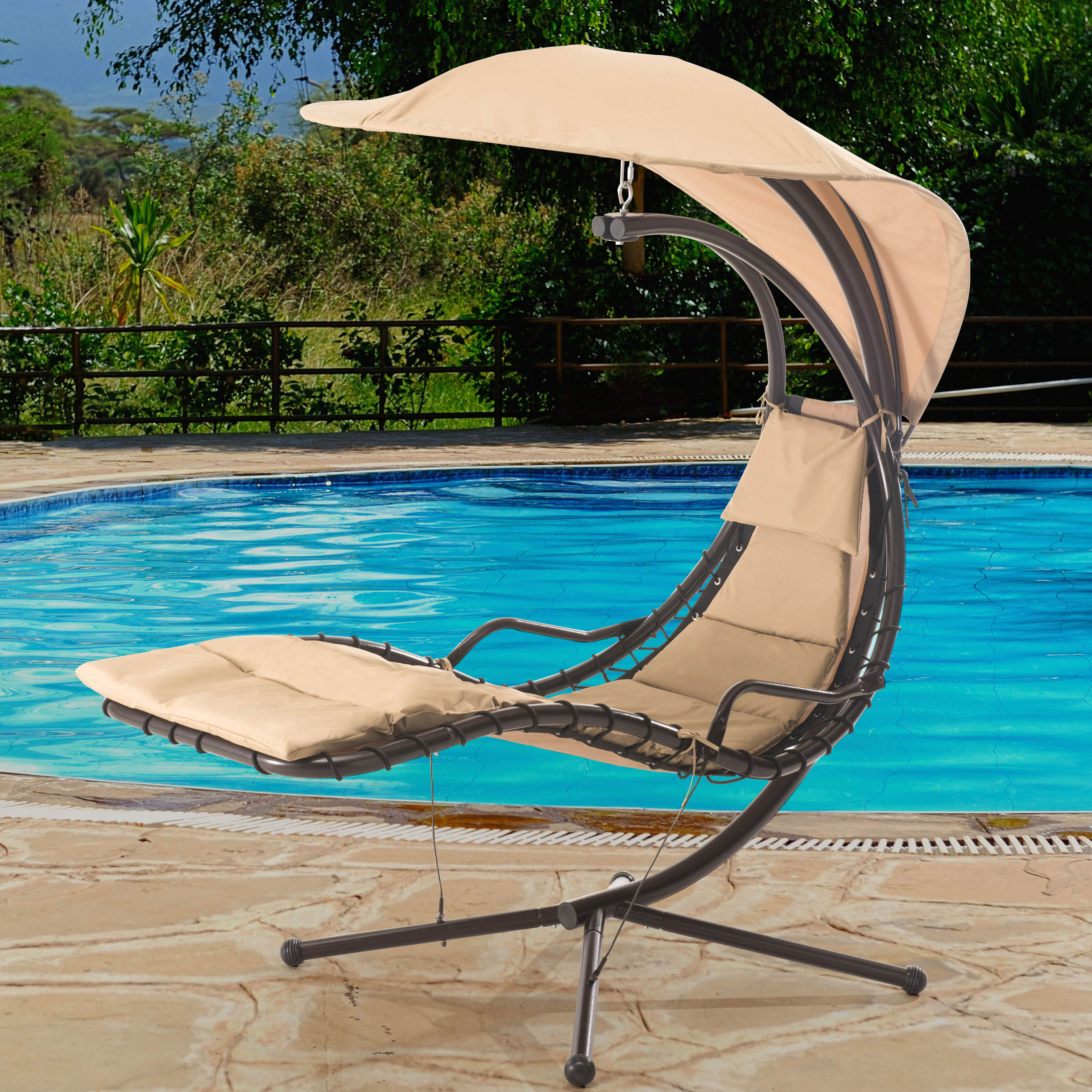 Sunjoy Corona Polyester Hanging Chaise Lounger with Stand ...