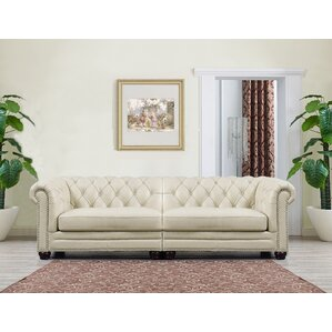 Lizete Cream Leather Chesterfield Sofa by Wi..