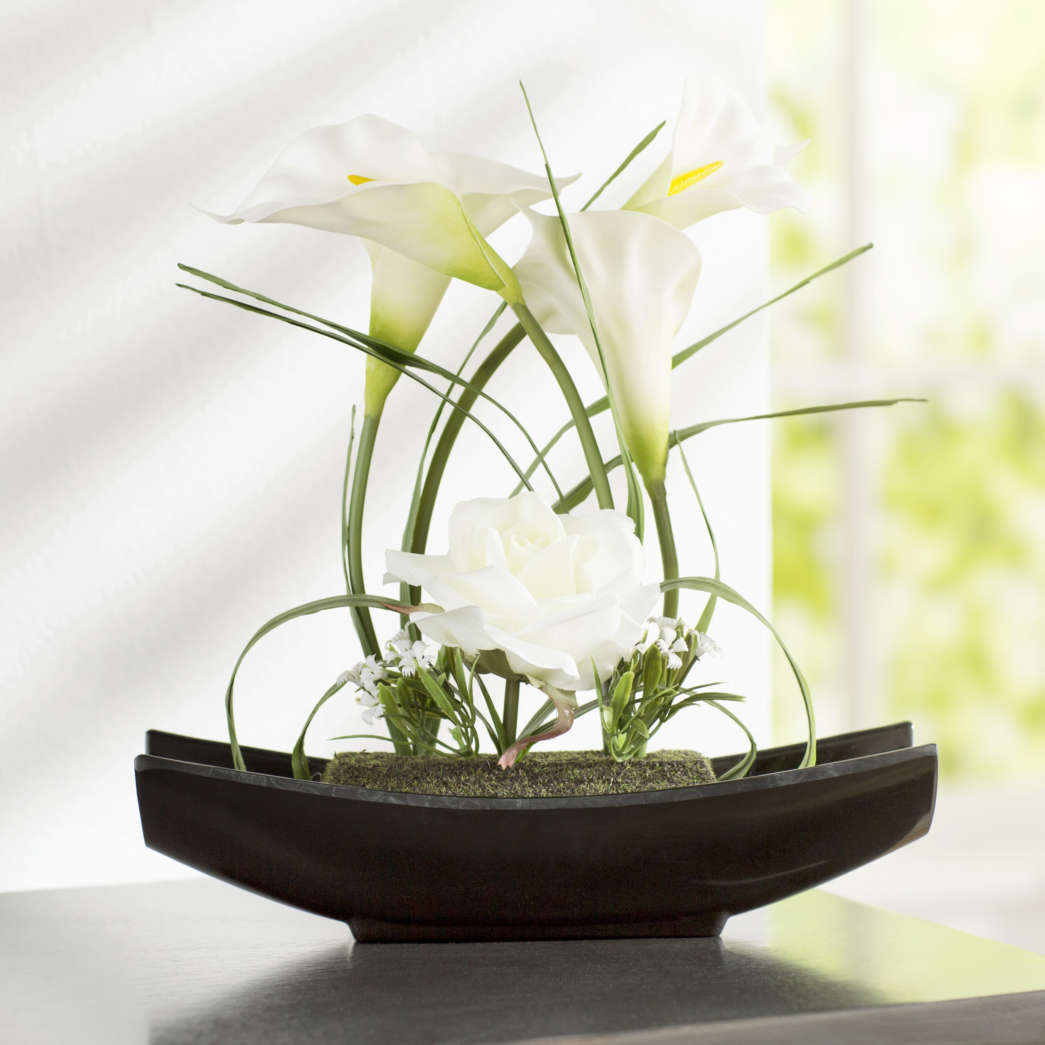 World Menagerie Rose And Calla Lilies Flowers In Planter Reviews