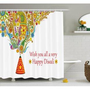 Marjane Diwali Indian Festive Religious Celebration Cone With Star Spraying Paisley  Print Shower Curtain