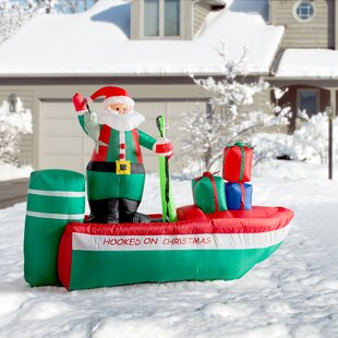 christmas inflatable santa claus fishing decoration - Blow Up Camper Christmas Decoration