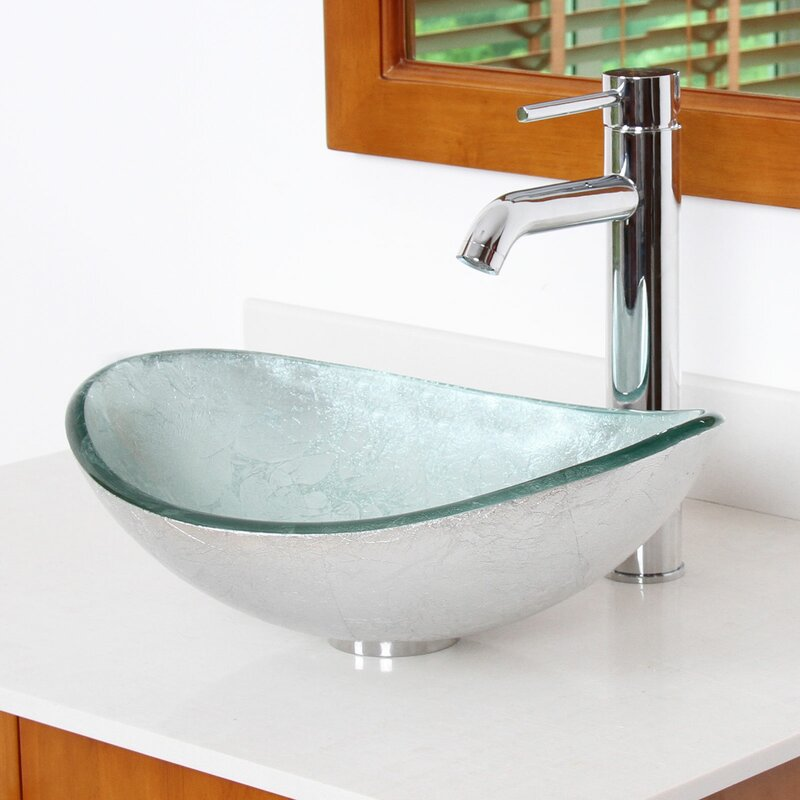 Elite Hand Painted Glass Oval Vessel Bathroom Sink & Reviews | Wayfair