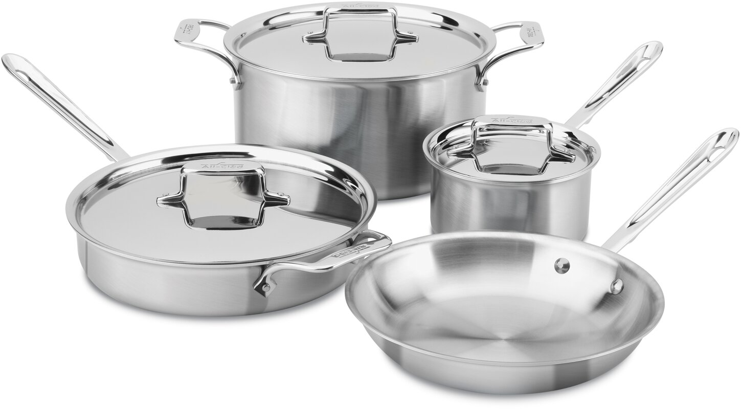 All-Clad Brushed Stainless Steel 7 Piece Cookware Set & Reviews ...