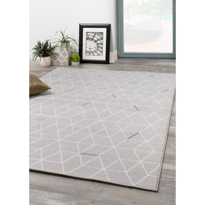 Novelle Home Intrepid Hexagon Lines Power Loomed Gray Area Rug Rug Size: 7'10 x 10'10