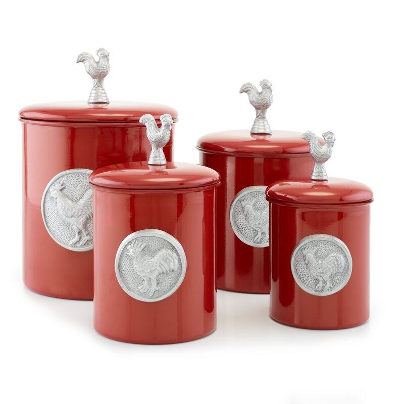 Red Rooster 4 Piece Kitchen Canister Set