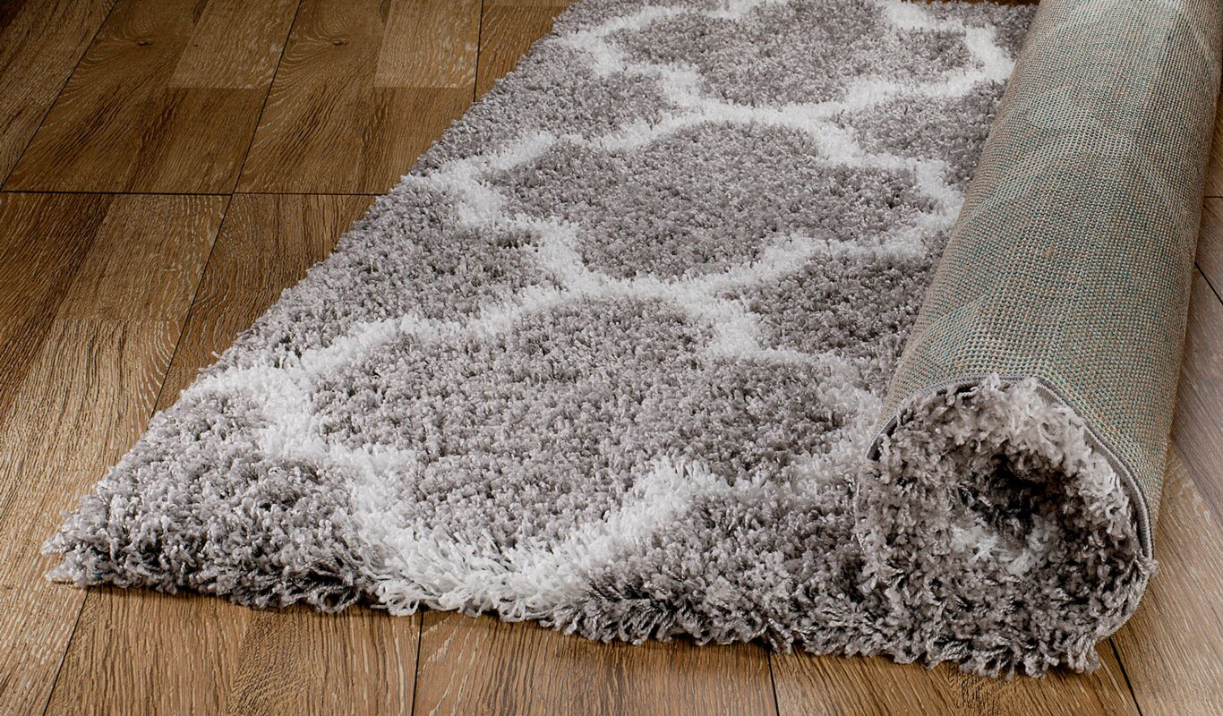 Rug And Decor Inc Supreme Shag Royal Trellis Gray White