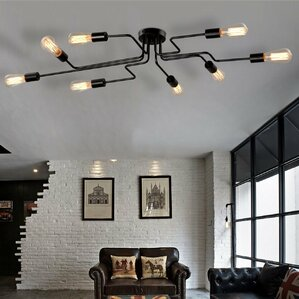 Metal Steel Art 8 Light Semi Flush Mount