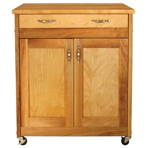 Designer Kitchen Cart with Wood Top