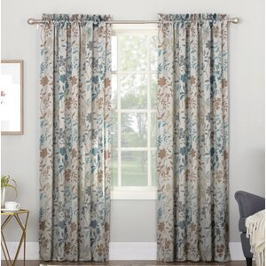 Auburn Nature/Floral Room Darkening Rod Pocket Single Curtain Panel