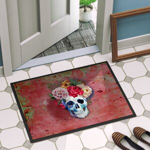 Flowers Skull Indoor/Outdoor Doormat