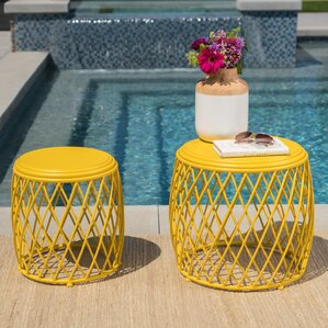 Biehl Outdoor Iron Side Table (Set of 2) by Ivy Bronx