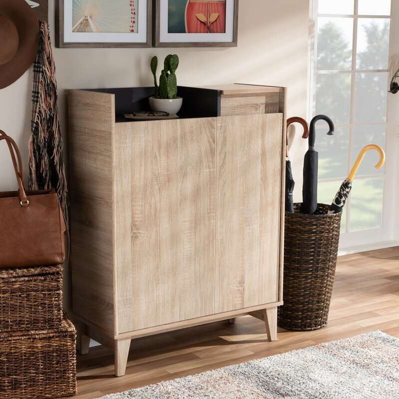 Charmant 2 Door Wood Entryway 10 Pair Shoe Storage Cabinet