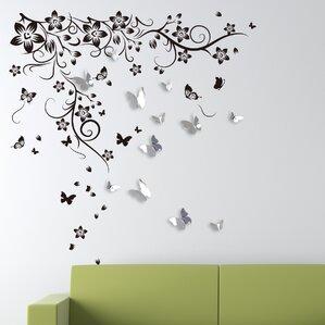 New Huge Butterfly Vine And 3D Mirror Butterflies Wall Decal Part 53