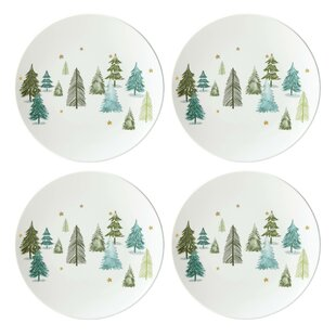balsam lane accent appetizer plate set of 4 - Christmas Plates