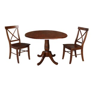 Gilleasbuig Round Top 3 Piece Drop Leaf Solid Wood Dining Set