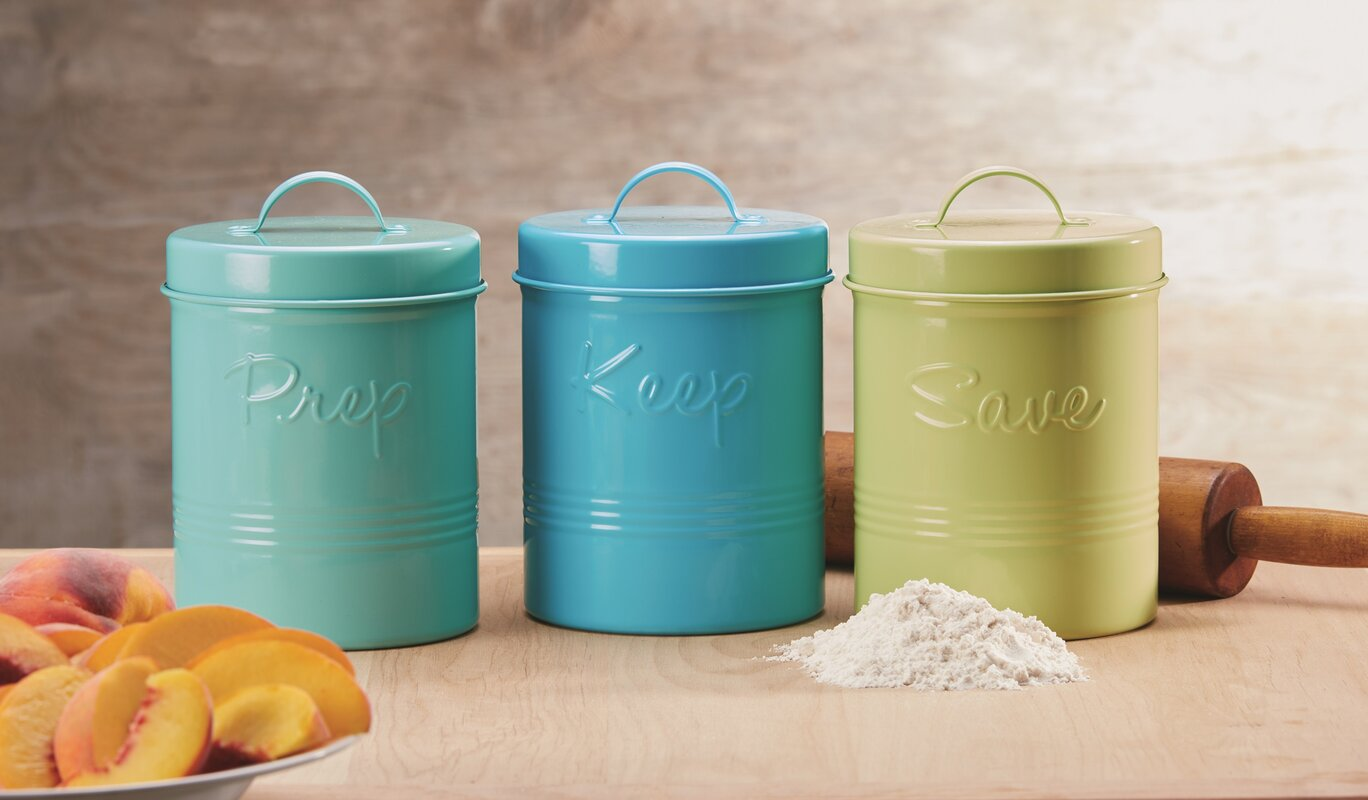 global amici retro fifties metal 3 piece kitchen canister set default name