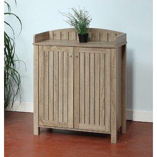 Wooden Slat Entryway Shoe Storage Cabinet