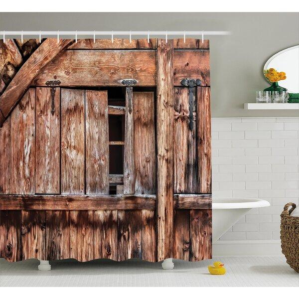 East Urban Home Rustic Oak Abandoned Barn Door Shower Curtain
