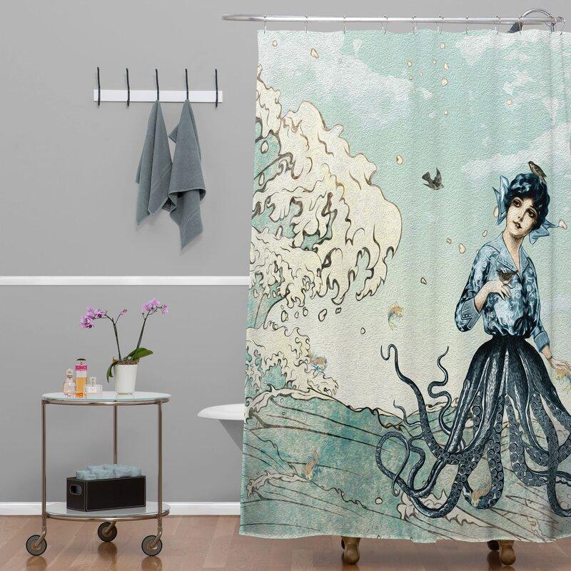 Brayden Studio Ketner Sea Fairy Extra Long Shower Curtain & Reviews ...