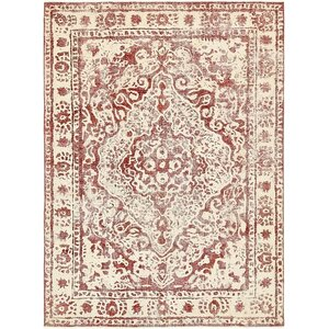 Sela Vintage Persian Hand Woven Wool Red Border Area Rug