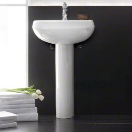 wellworth 22 pedestal bathroom sink with overflow