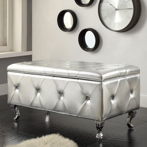Victoria Crystal Tufted Faux Leather Storage Bedroom Bench