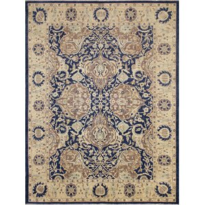 One-of-a-Kind Leann Faded Hand-Knotted Blue Wool Area Rug