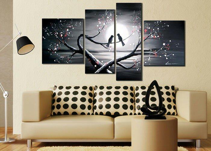 Zipcode Design \'Romantic Love Birds\' 4 Piece Painting on Canvas Set ...