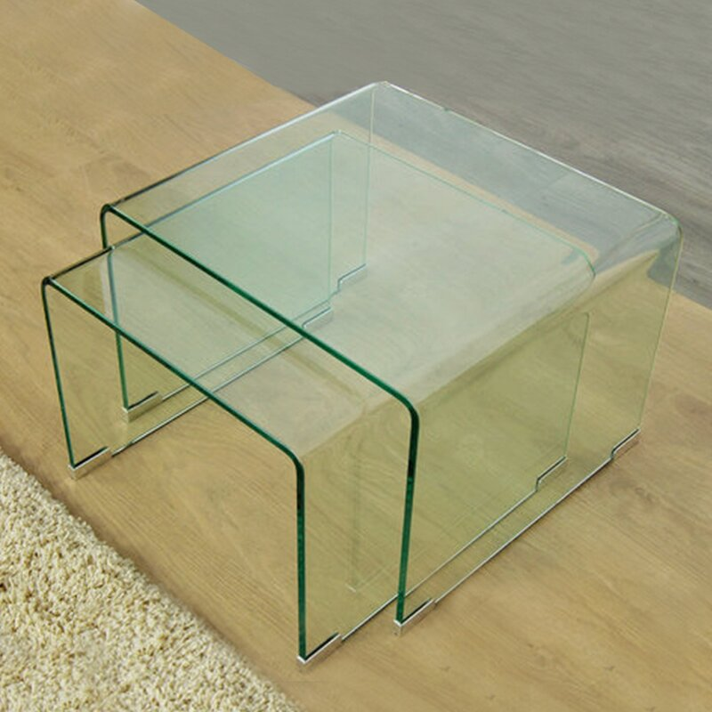 Fab glass and mirror 2 piece clear bent glass nesting tables wayfair 2 piece clear bent glass nesting tables watchthetrailerfo