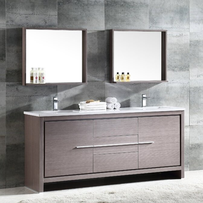 double bathroom vanity. Trieste Allier 72  Double Bathroom Vanity Set with Mirror Vanities You ll Love Wayfair
