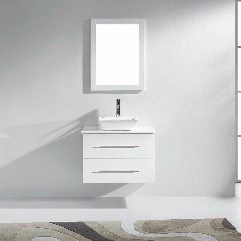 Decastro 30 Single Bathroom Vanity Set With White Stone Top And Mirror