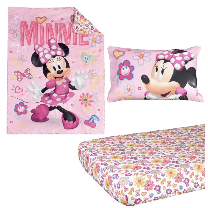 quality design 9feab a3494 Minnie Mouse 3 Piece Toddler Bedding Set