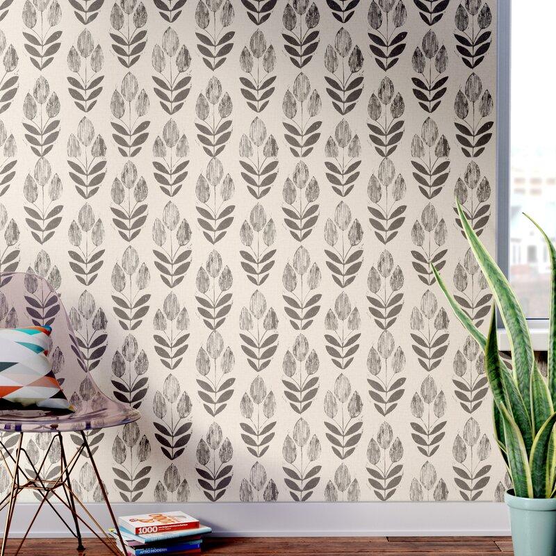 Ladwig Scandinavian   Block Tulip Floral Wallpaper Roll