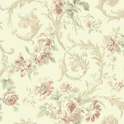 "Shimmering Topaz Rococco 33' x 20.5"" Floral Wallpaper"